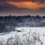 gün batımında kış manzarası — Stok fotoğraf