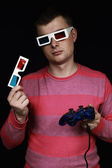 Young man in anaglyph glasses — Stock Photo