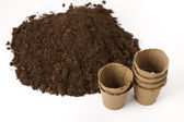 Soil and peat pots — Stock Photo