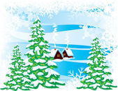 Winter landscape — Vector de stock