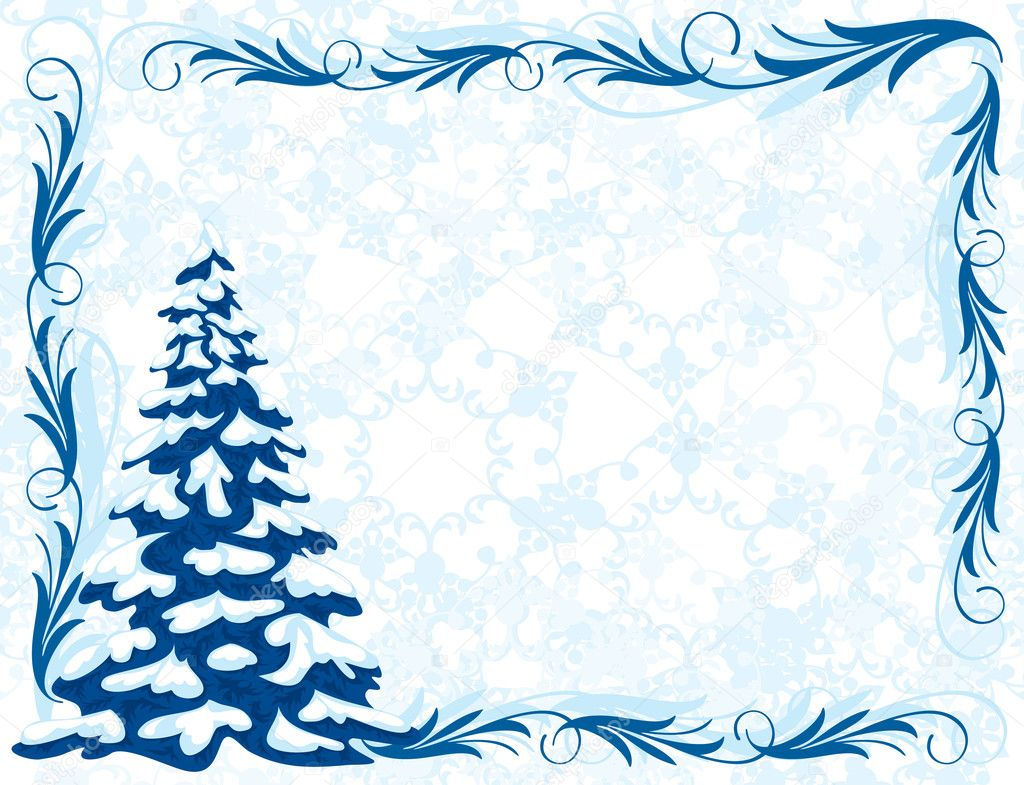 Winter background with Christmas tree and frost patterns. Frame for congratulations. — Stock Vector #4074016