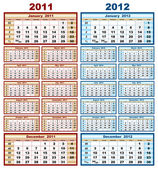 Calendar 2011 and 2012 — Stock Vector
