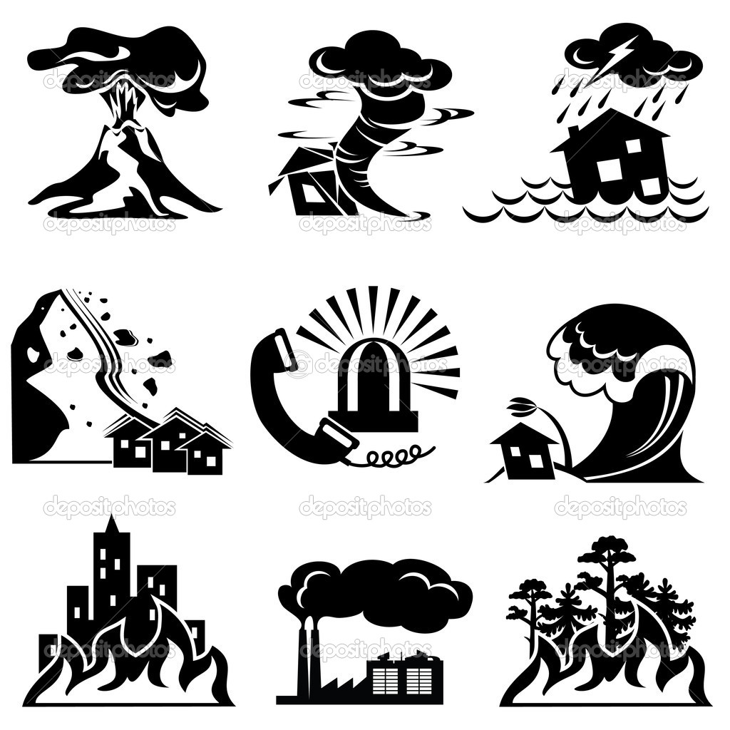 Set vector silhouette icons of natural disaster  Stock Vector #4334693