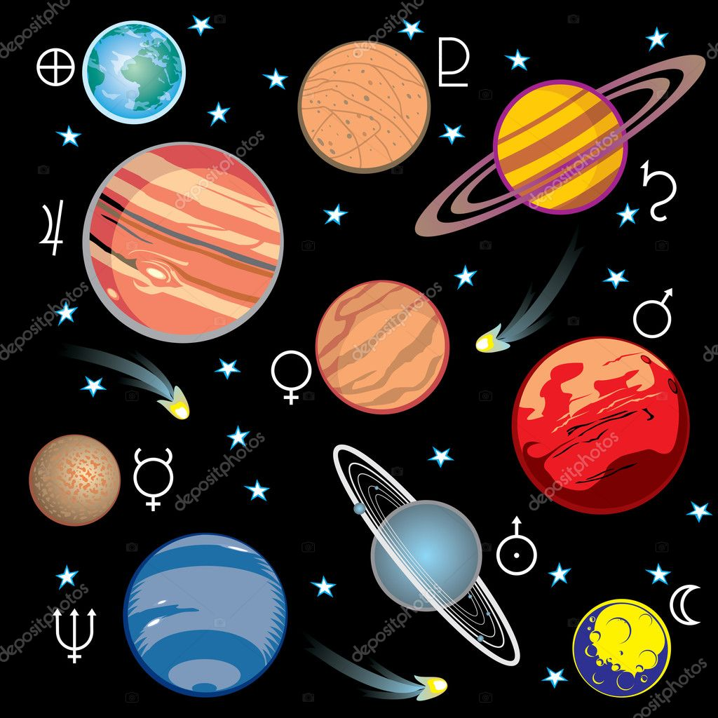 Collection of vector images of planets in the solar system with graphical symbols  Stock Vector #4424614