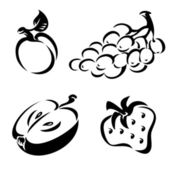 Black and white fruit — Stock Vector