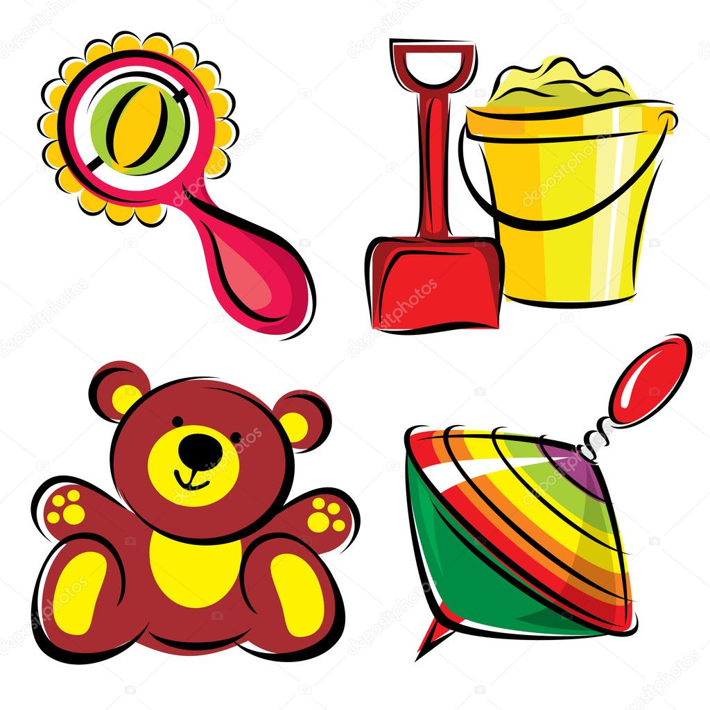 Childrens toys — stock vector print d