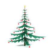 Modern metal Cristmas Tree with red bauble — Stock Photo