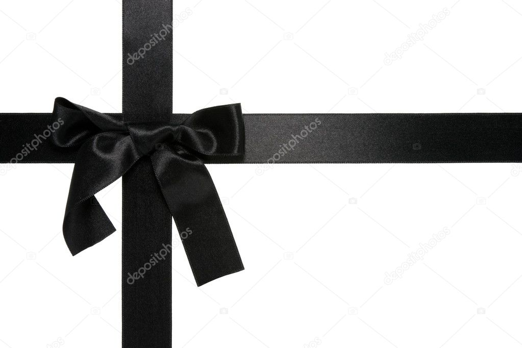 Black Ribbon Bow Black cross ribbon with bow
