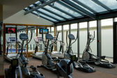 Gym with jogging simulators — Stock Photo