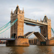 Tower Bridge with open gates - Stock Photo
