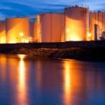 Fuel Tanks illuminated at night — Stock Photo