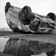 Car turned upside-down, Black and White — Stock Photo