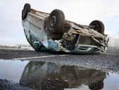 Car turned upside-down — Stock Photo