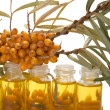 Oil of sea-buckthorn berries. - Stock Photo