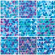 Stock Vector: Bright blue winter triangle pattern set