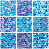Bright blue winter triangle pattern set — Stock Vector