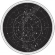Celestial Map of The Night Sky - Stock Vector
