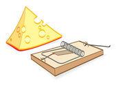 Cheese And Mousetrap Cartoon — Stock Vector