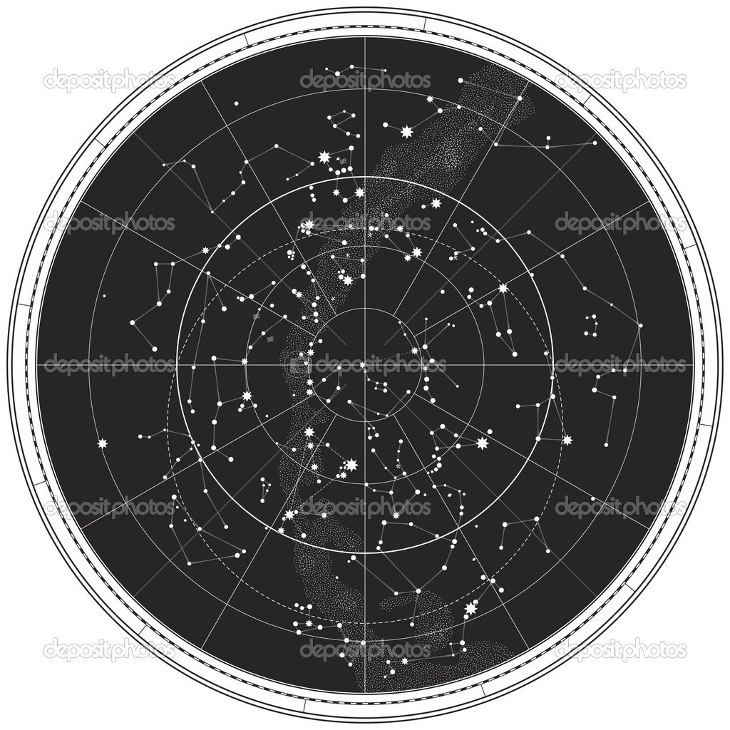 Celestial Map of The Night Sky. Astronomical Chart of Northern Hemisphere (EPS-8) — Stock Vector #4969844