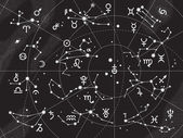 XII Constellations of Zodiac — Vettoriale Stock