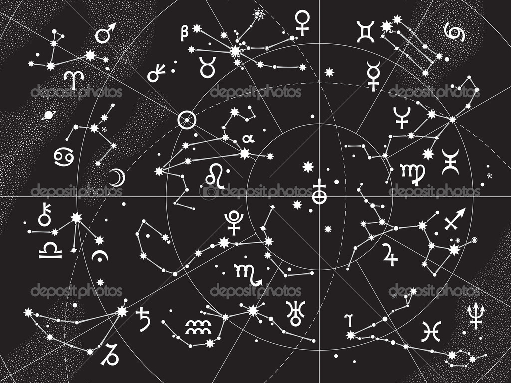 XII Constellations of Zodiac and Its Planets the Sovereigns. Astrological Celestial Chart. — Stok Vektör #4984737