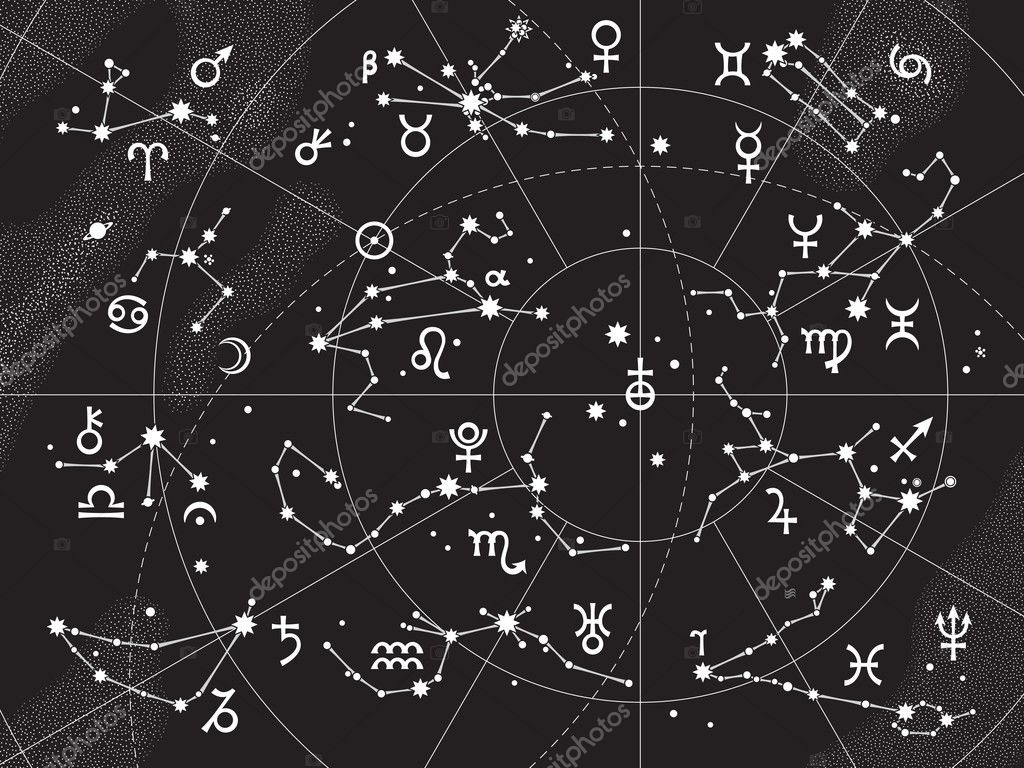 XII Constellations of Zodiac and Its Planets the Sovereigns. Astrological Celestial Chart. — Image vectorielle #4984737