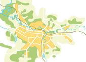 Carte simplifiée de vecteur de la ville — Vecteur