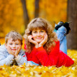 Mother with son in the autumn park — Stock Photo #3942812