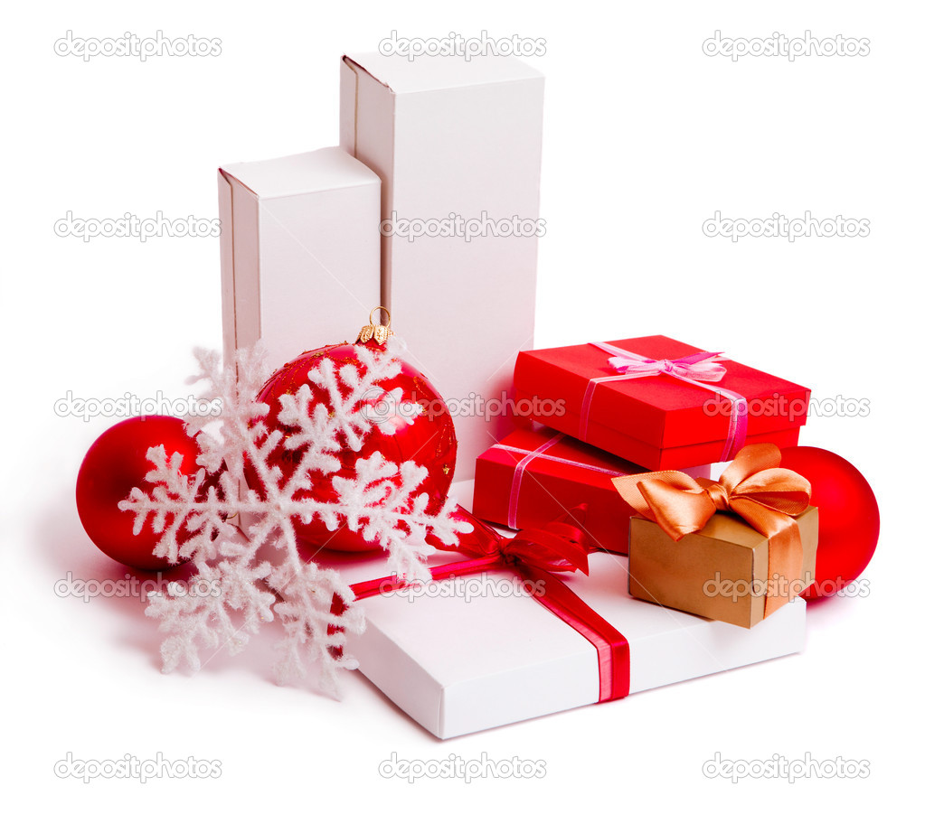 Christmas present boxes on white background  Stock Photo #4150063