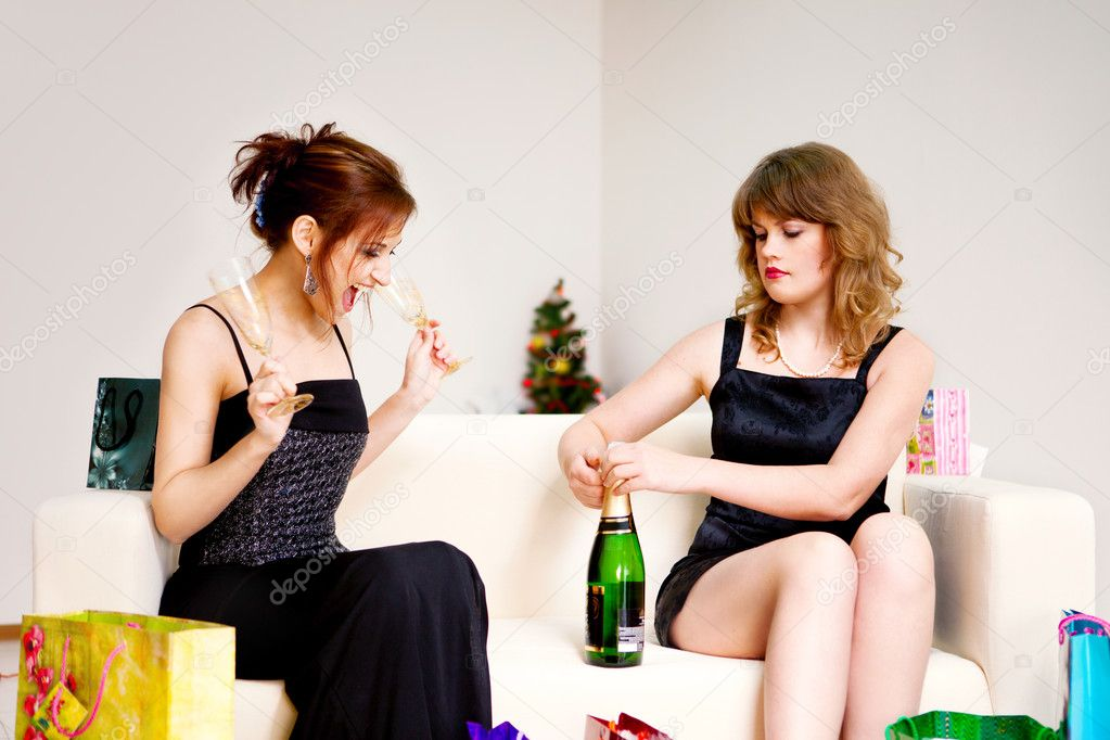 Two women celebrate christmas in evening dress — Stock Photo #4154436
