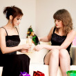 Two women celebrate christmas — Stock Photo