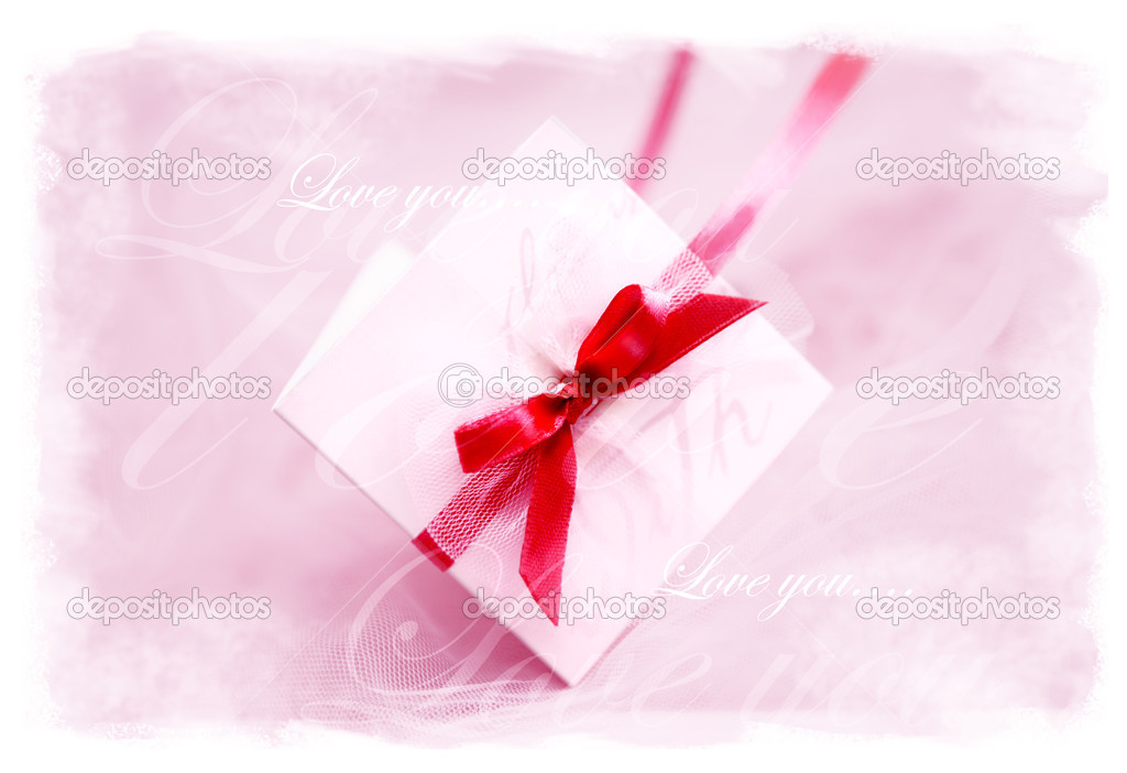 Valentine card lying on the red satin — Stock Photo #4649322