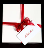 Present-box with note — Stock Photo