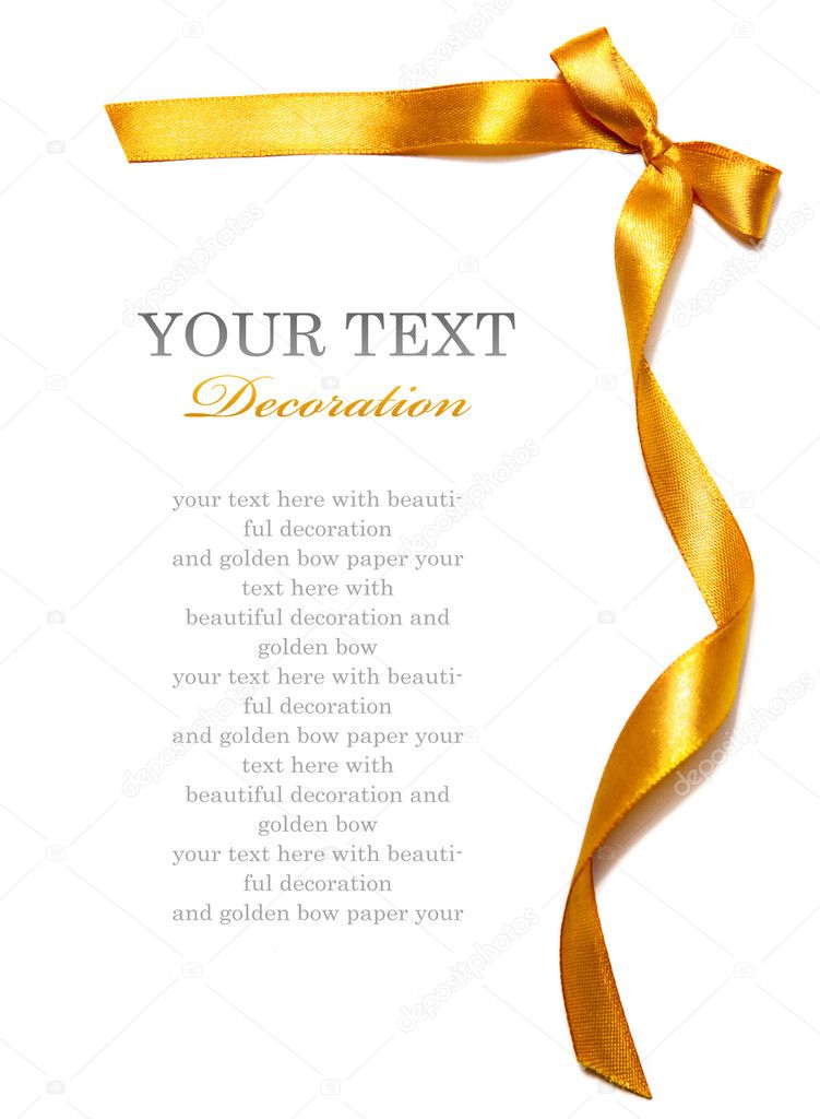 Golden ribbon with bow on white background — Stock Photo #4726697