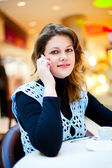 Woman in the cafe — Stock Photo