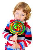 Portrait of girl with lollipop — Stock Photo