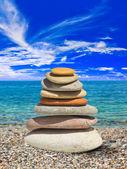 Stack of stones on beach — Stock Photo