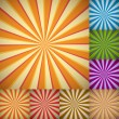 Sunburst colorful backgrounds - Stok Vektör