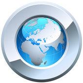 Globe button — Stock Vector