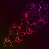 Abstraktní červené a růžové svítící ve tvaru srdce světla. — Stock vektor