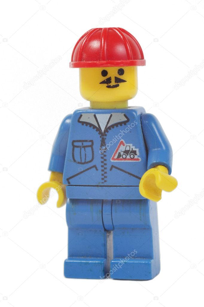 Toy worker, builder man lego isolated on white background — Stock Photo #4478767