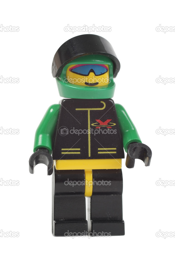 Toy racer man lego isolated on white background — Stock Photo #4478768