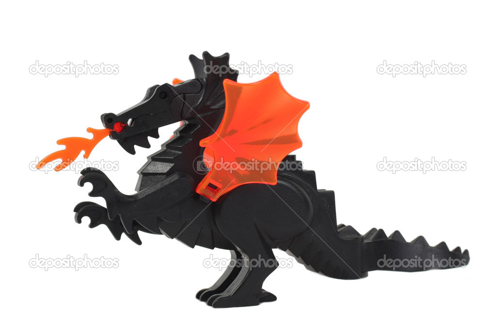 Toy dragon, draco lego isolated on white background — Stock Photo #4478777
