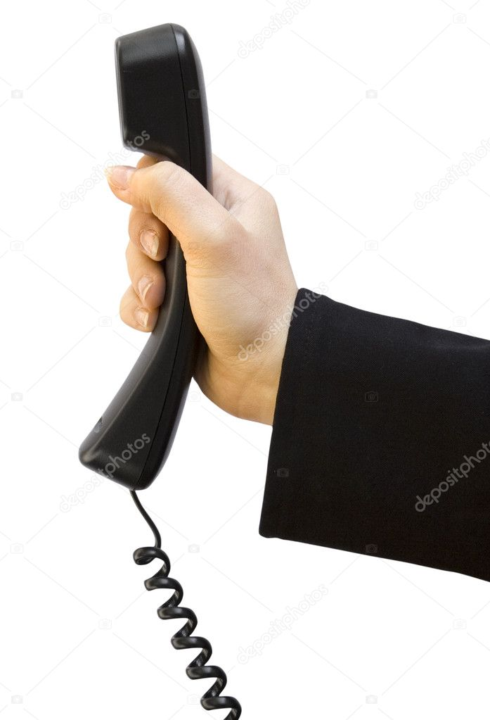 One black tube from phone in hand on white background — Stock Photo #4374312