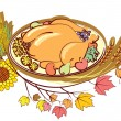 Roast turkey and text for holiday.Vector Thanksgiving day - Stock Photo