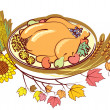 Roast turkey and text for holiday.Vector Thanksgiving day — Stock Photo #4068750