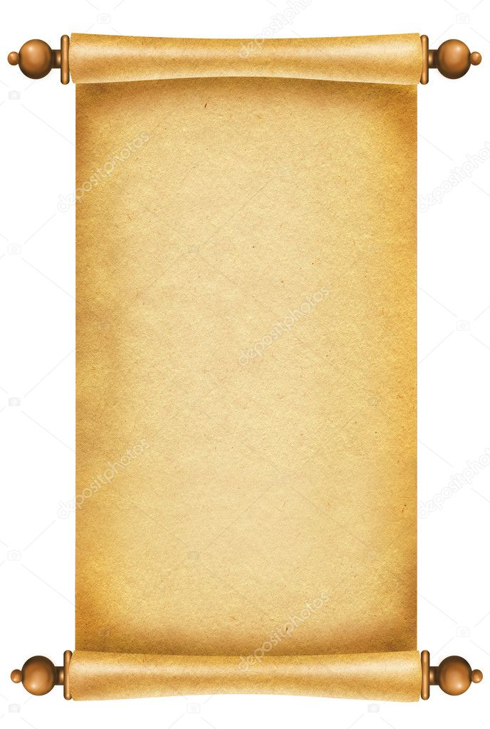 Old paper texture.Scroll background for design on white. — 图库照片 #4538804