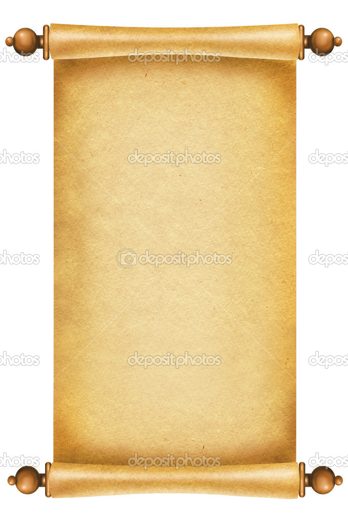 Old paper texture.Scroll background for design on white.  Stockfoto #4538804