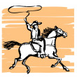 Cowboy and horse - Stock Vector