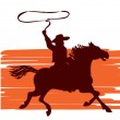 Cowboy and horse — Stock Vector